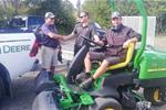 Happy greenkeeper Jerry upon receiving the new John Deere mower, 22 April 21